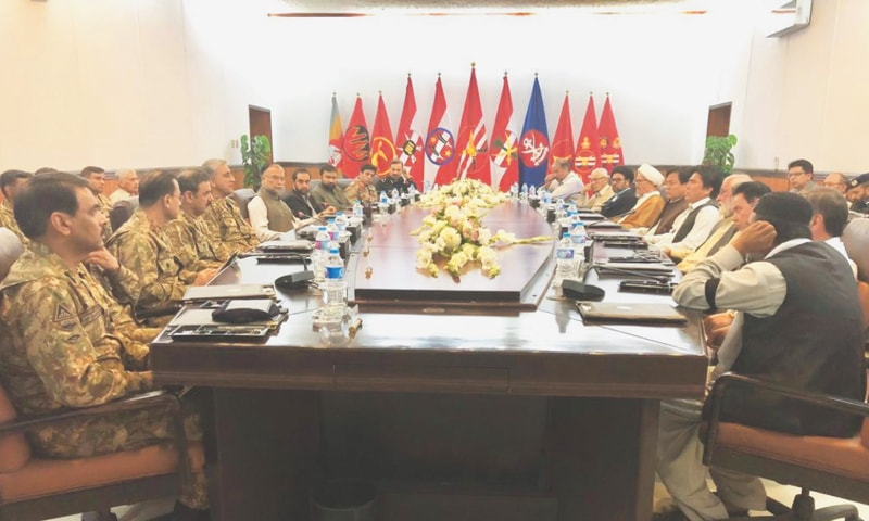 Chief of the Army Staff Gen Qamar Javed Bajwa holding a meeting with representatives of the Shia Hazara community. Interior Minister Ahsan Iqbal and Balochistan Chief Minister Mir Abdul Quddus Bizenjo are also present.