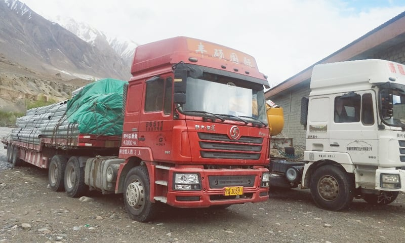 Chinese trucks are stranded near Sust dry port in upper Hunza of Gilgit-Baltistan.—Dawn