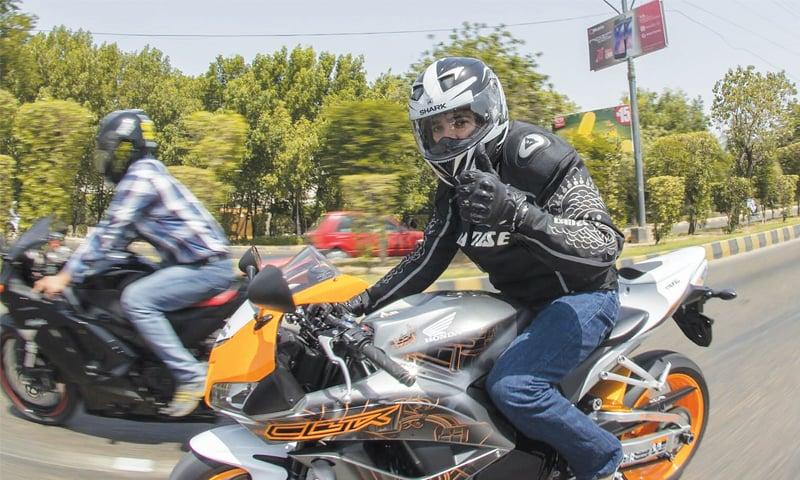 Javaid riding his Honda CBR600   Ali Haider Shah