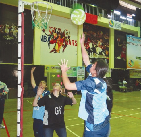 ISLAMABAD: A women's netball match in progress at the National Championship on Friday.