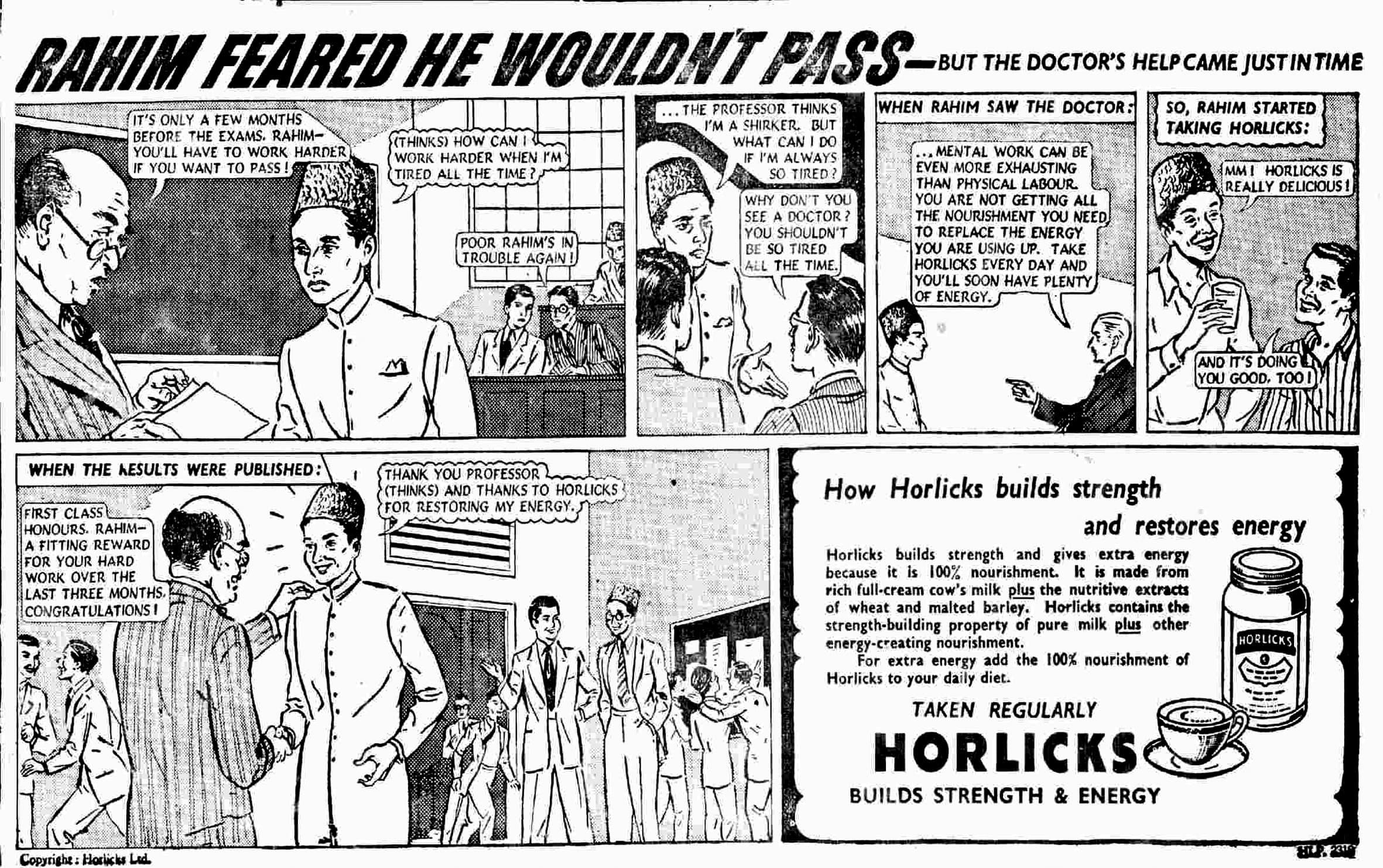 Horlicks ad – 1952