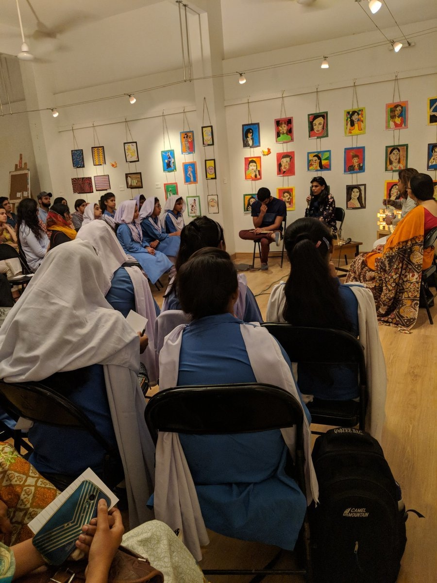 Students listen to the panel discussion at the exhibition. Photo: Zindagi Trust