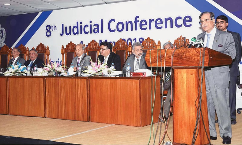 Chief Justice Saqib Nisar addressing the concluding session of the eighth Judicial Conference on Saturday.—APP