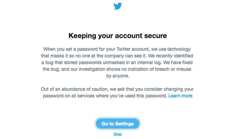 ٹوئٹر کی جانب سے صارفین کی فیڈ پر نظر آنے والا پیغام — اسکرین شاٹ