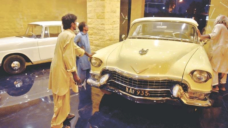 The display garage for the cars is based on the Quaid-i-Azam House architecture..