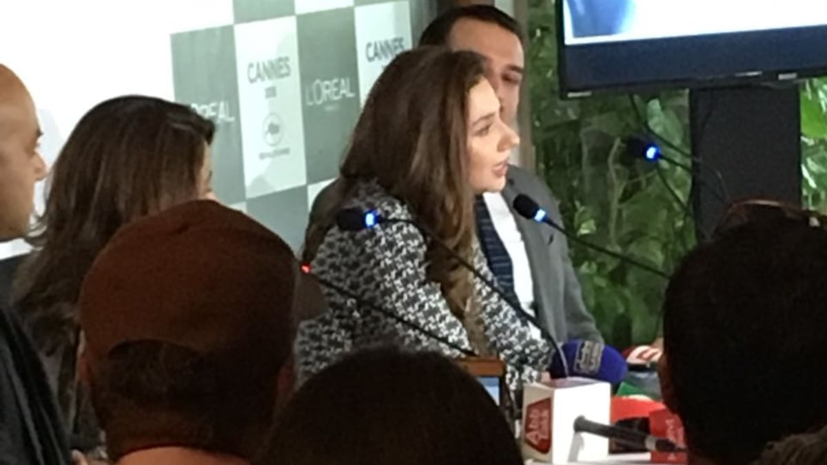 Mahira Khan at the press conference for Cannes