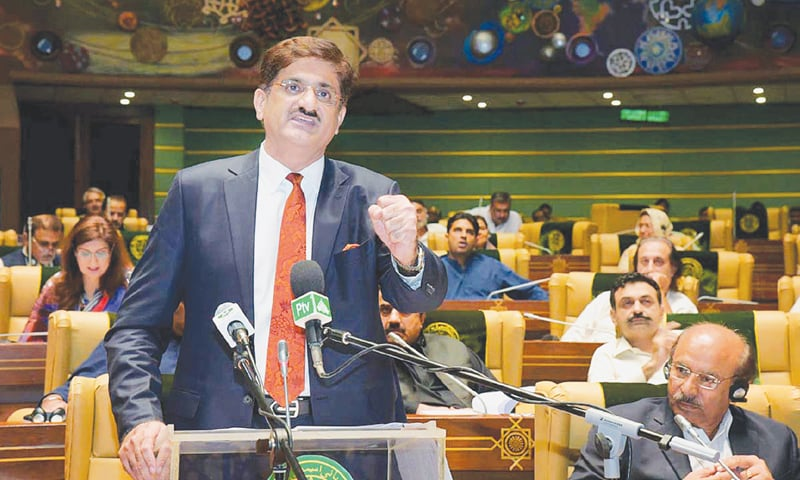 SINDH Chief Minister Syed Murad Ali Shah presenting the budget for fiscal year 2018-19 in the Sindh Assembly on Thursday.—APP