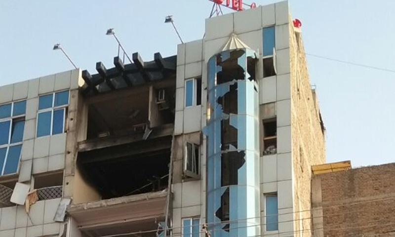 A view of the damaged hotel building after the blast. — Photo by author