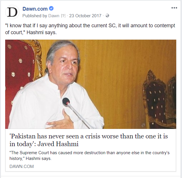 A Facebook post linking to a Dawn.com story was briefly blocked from viewership in Pakistan.