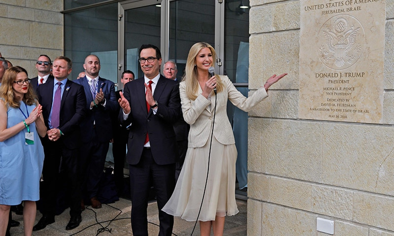 US President's daughter Ivanka Trump unveils an inauguration plaque during the opening of the US embassy in Jerusalem. — AFP