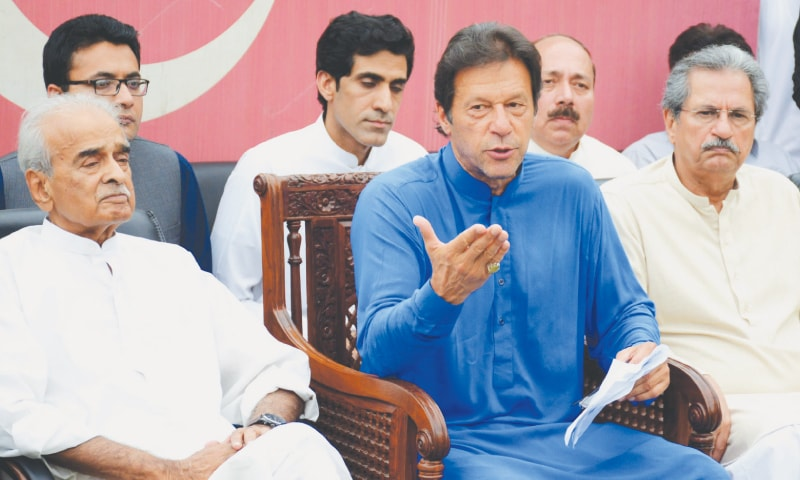 Pakistan Tehreek-i-Insaf chairman Imran Khan addresses a press conference on  Monday.—Tanveer Shahzad / White Star