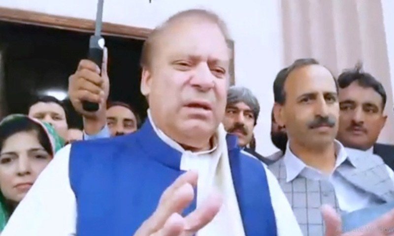 Nawaz speaking to reporters at the accountability court on Tuesday. ─ DawnNewsTV