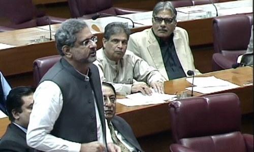Prime Minister Shahid Khaqan Abbasi speaks in parliament. — DawnNewsTV