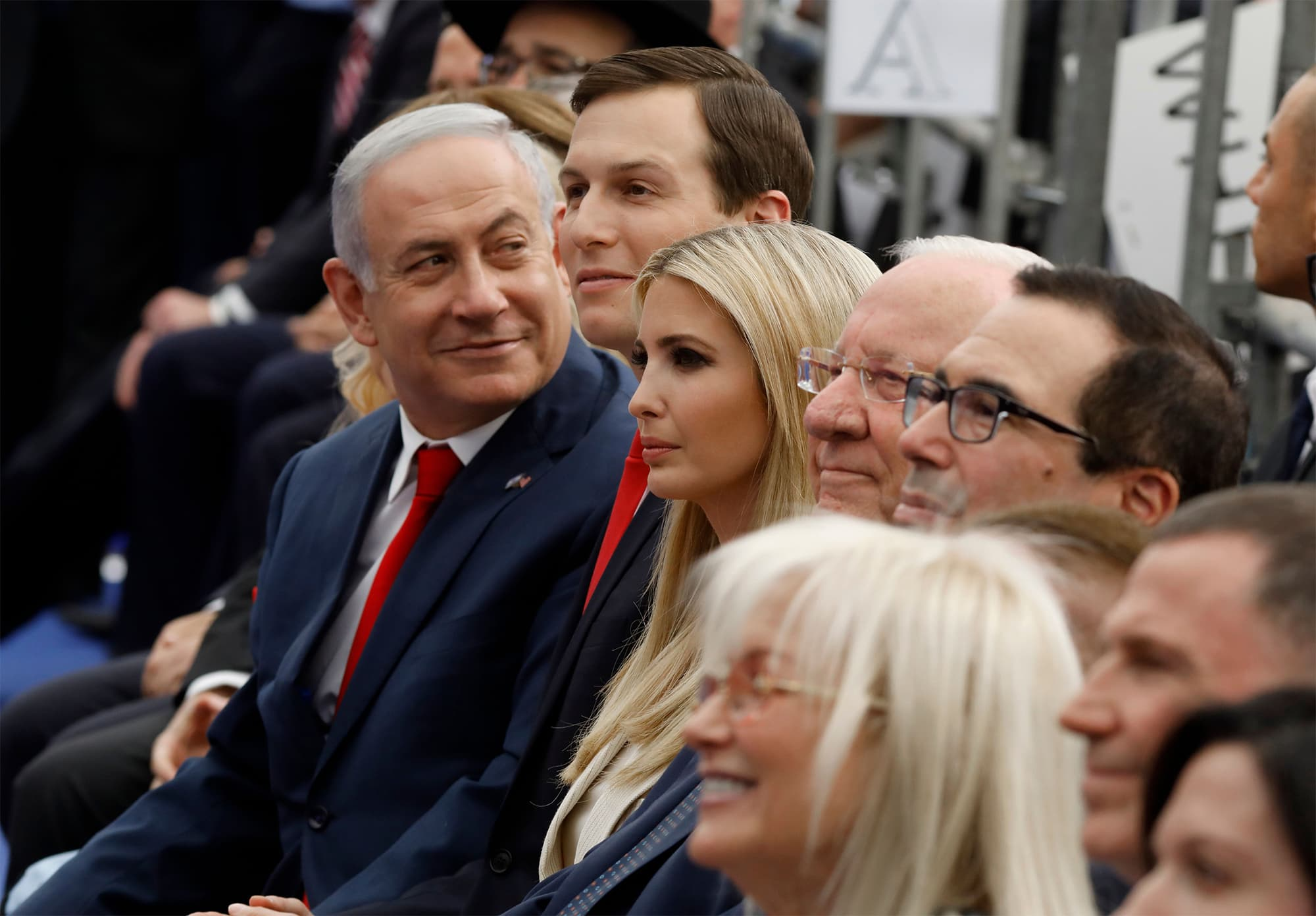 Israeli Prime Minister Benjamin Netanyahu (L), Senior White House Adviser Jared Kushner (C-R), US President's daughter Ivanka Trump (3rd R), US Treasury Secretary Steve Mnuchin (R) and Israel's President Reuven Rivlin (2nd R) attend the opening of the US embassy in Jerusalem on May 14, 2018. — AFP