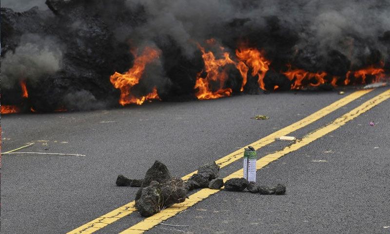 کیلوا میگما آتش فشاں پھٹتے ہی اس کے لاوے دور دور تک پھیل گئے—فوٹو: اے پی