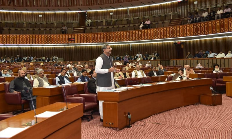 PRIME Minister Shahid Khaqan Abbasi speaks in National Assembly on Tuesday.—APP