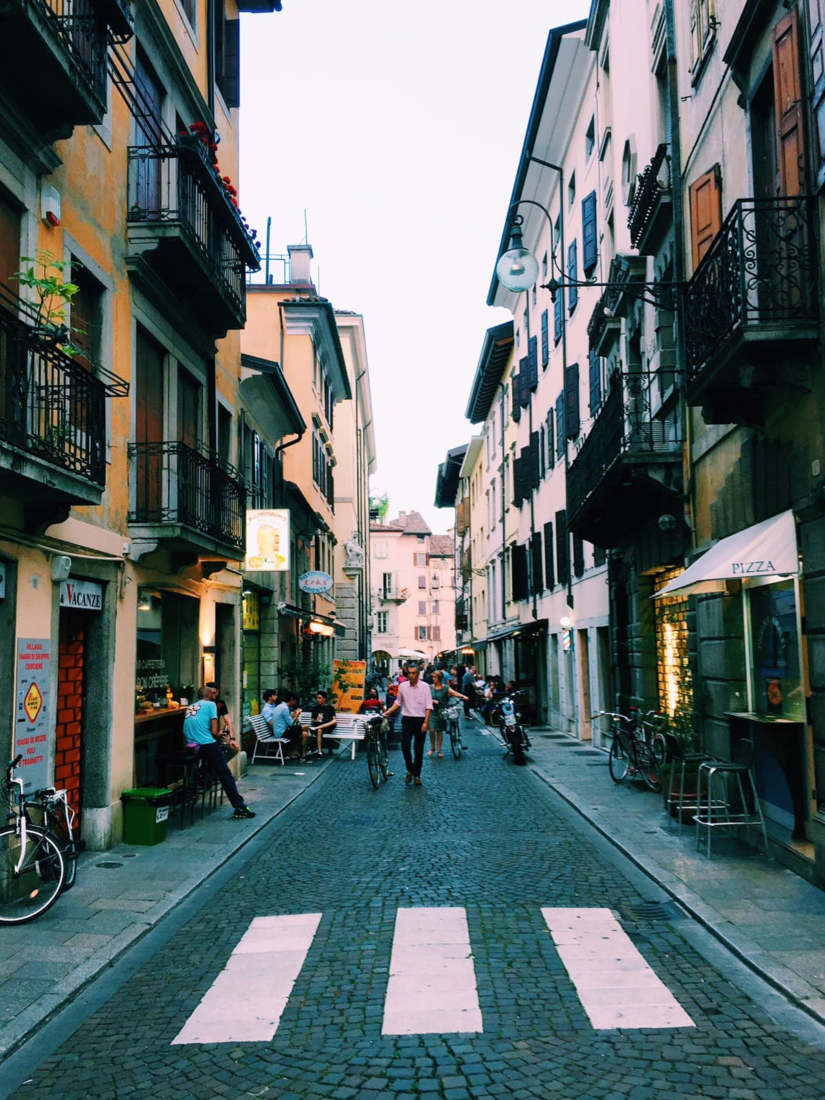 A street named Via Pelliccerie in the centre of Udine, Italy