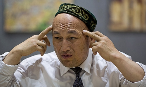 Omir Bekali talks about the psychological stress he endure in a Chinese internment camp during an interview in Almaty, Kazakhstan. — AP