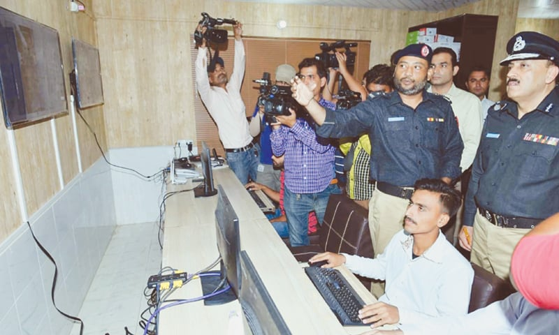 IGP A. D. Khowaja visits the command and control room inaugurated at the DIG-West office in Gulberg on Thursday.—PPI