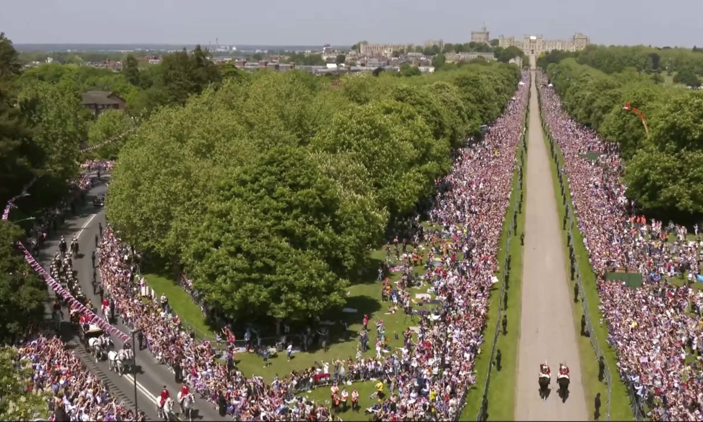 The crowd on the streets outside Windsor Castle — AP