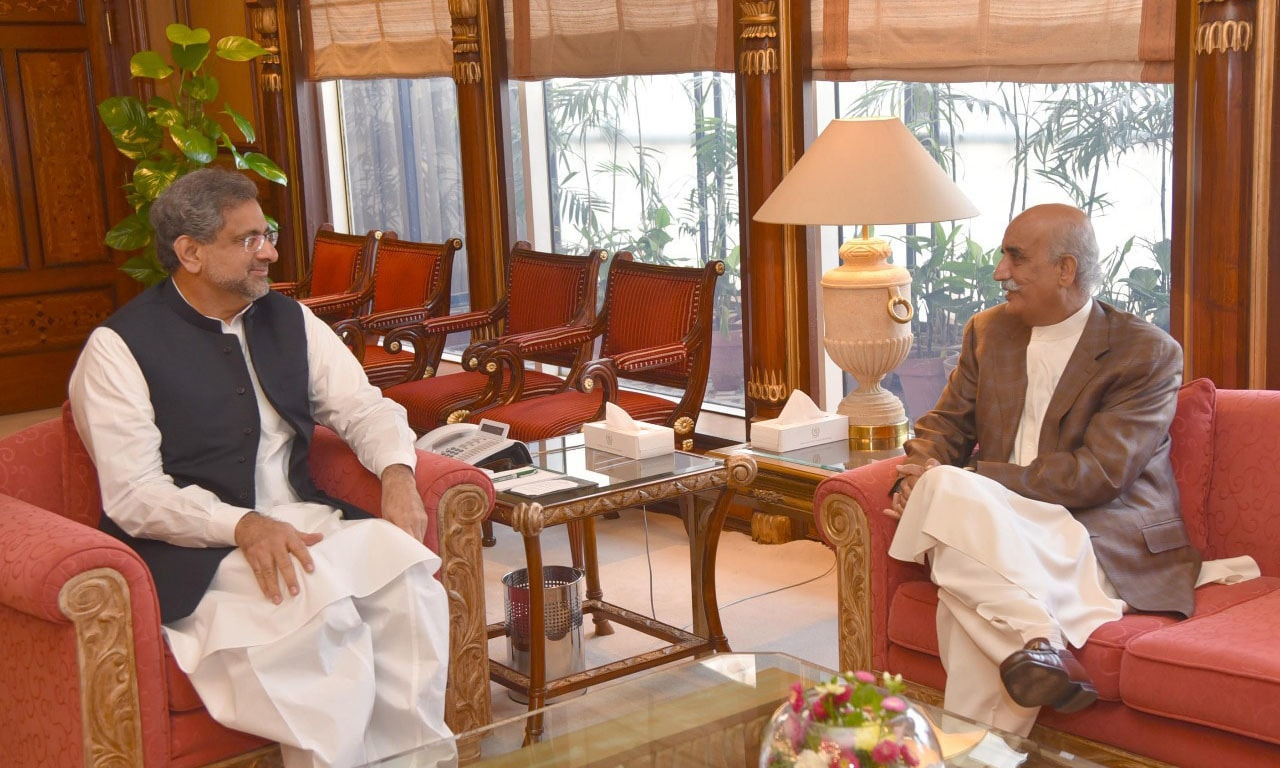 Prime Minister Shahid Khaqan Abbasi and Leader of the Opposition in the NA Khursheed Shah in today's meeting. — DawnNewsTV