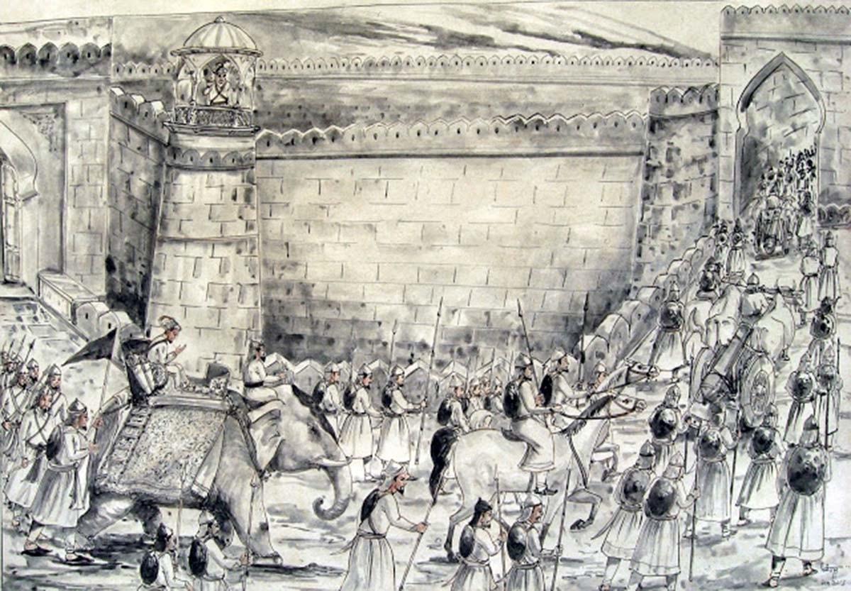 شاہ جہاں دارا شکوہ کو ہمیشہ کے لیے الوداع کہتے ہوئے، 18 مئی 1658۔ — پینٹنگ پبلک ڈومین