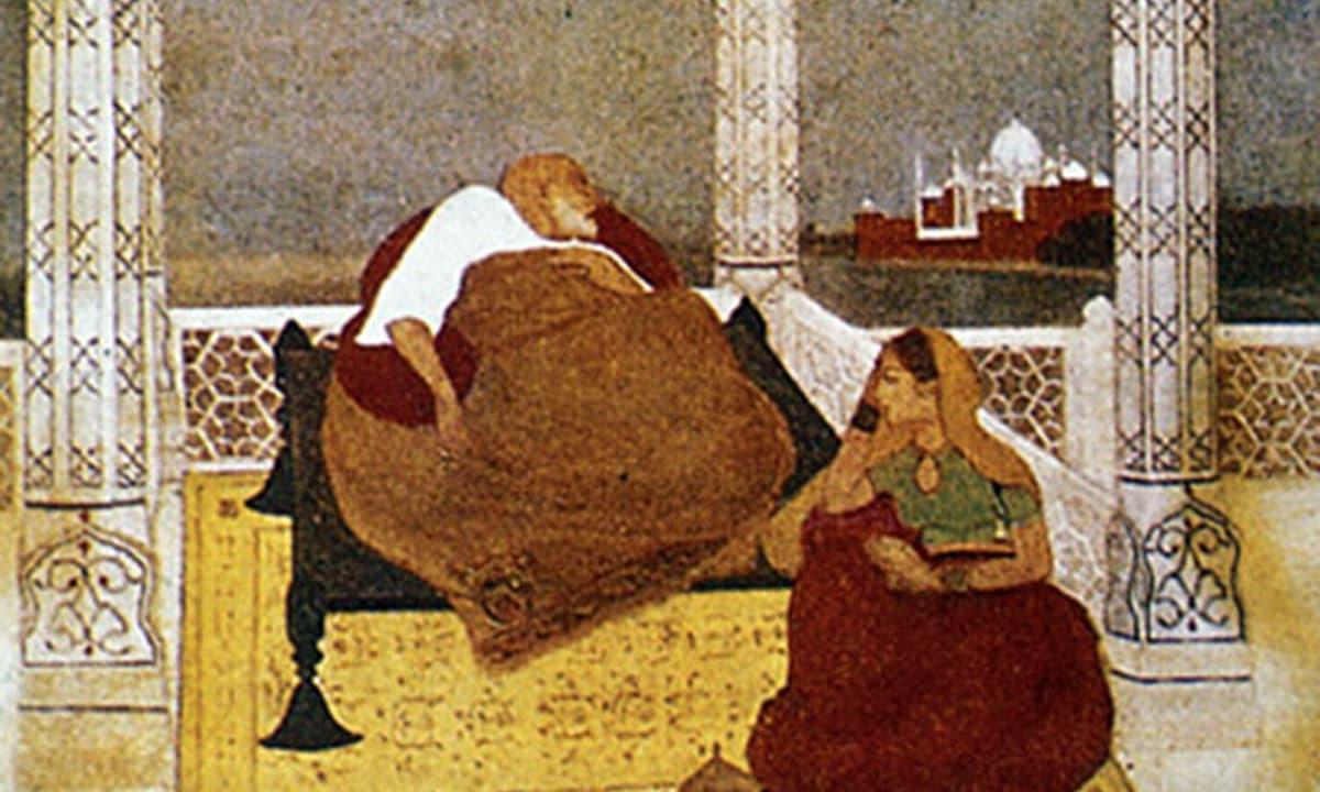 شاہ جہاں کی وفات، 22جنوری 1666ء— پینٹنگ پبلک ڈومین