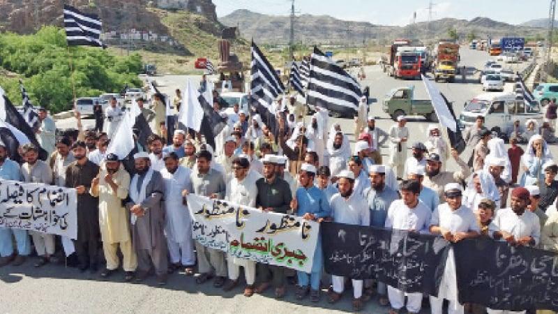 JUI-F workers block road against Fata-KP merger