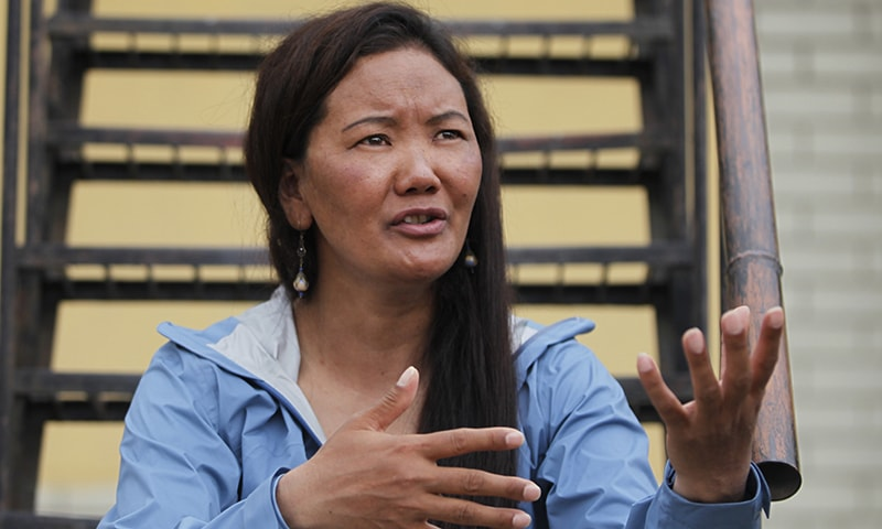 Nepalese female climber Lhakpa Sherpa talks with *The Associated Press* in Kathmandu, Nepal. — AP