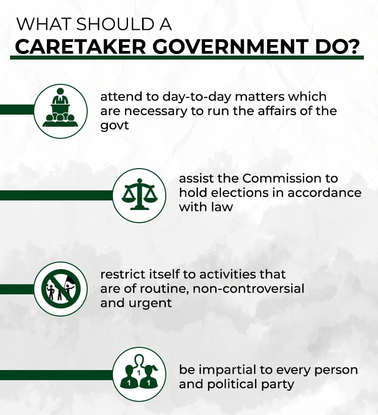 Role of a caretaker govt