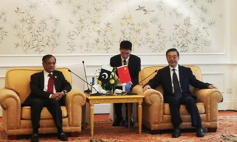 Chief Justice of Pakistan Mian Saqib Nisar meets President of Supreme Peoples Court of China in Beijing. ─ Photo by au