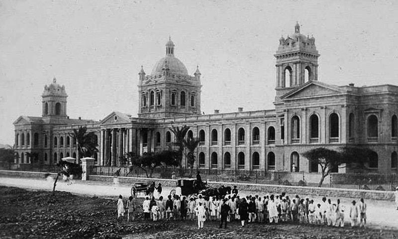 1930 کی دہائی میں ڈی جے کالج کا ایک منظر۔