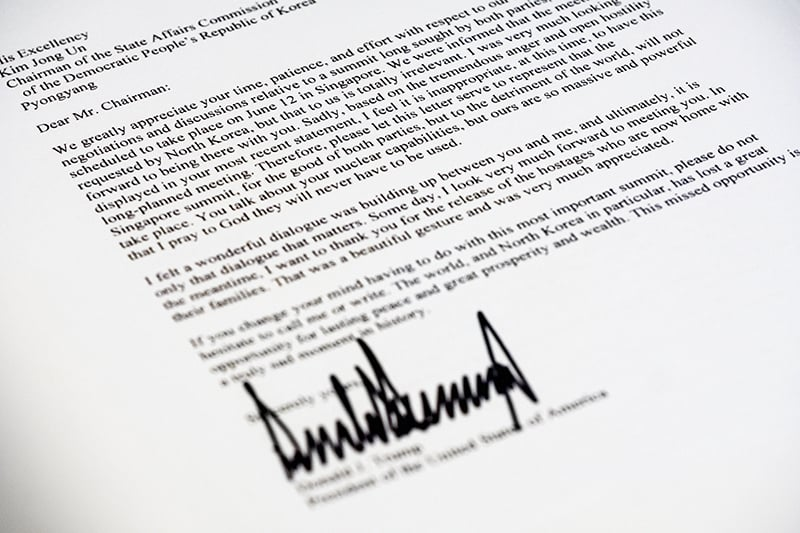 A copy of the letter sent to North Korean leader Kim Jong Un from President Donald Trump cancelling their planned summit in Singapore. —AP