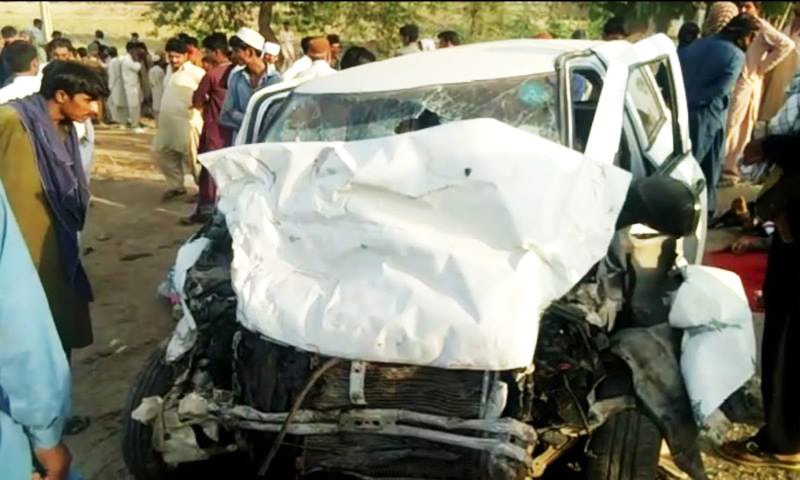 Two cars travelling in opposite direction in great speed rammed into each another head-on, say police. —DawnNewsTV