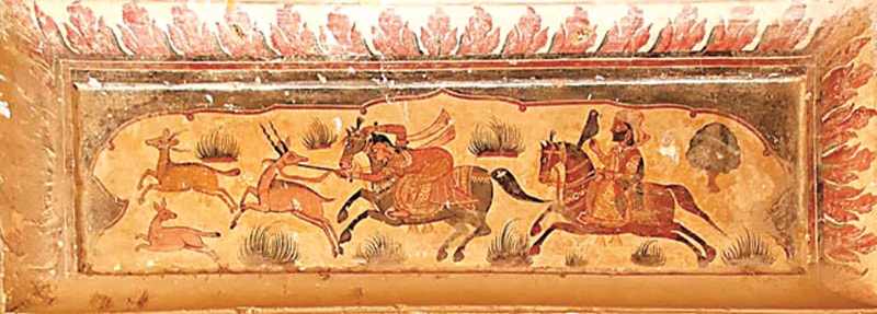 A 17th century painting from Bhuman Shah's darbar in Okara shows a woman leading a hunting expedition | Photo from the book