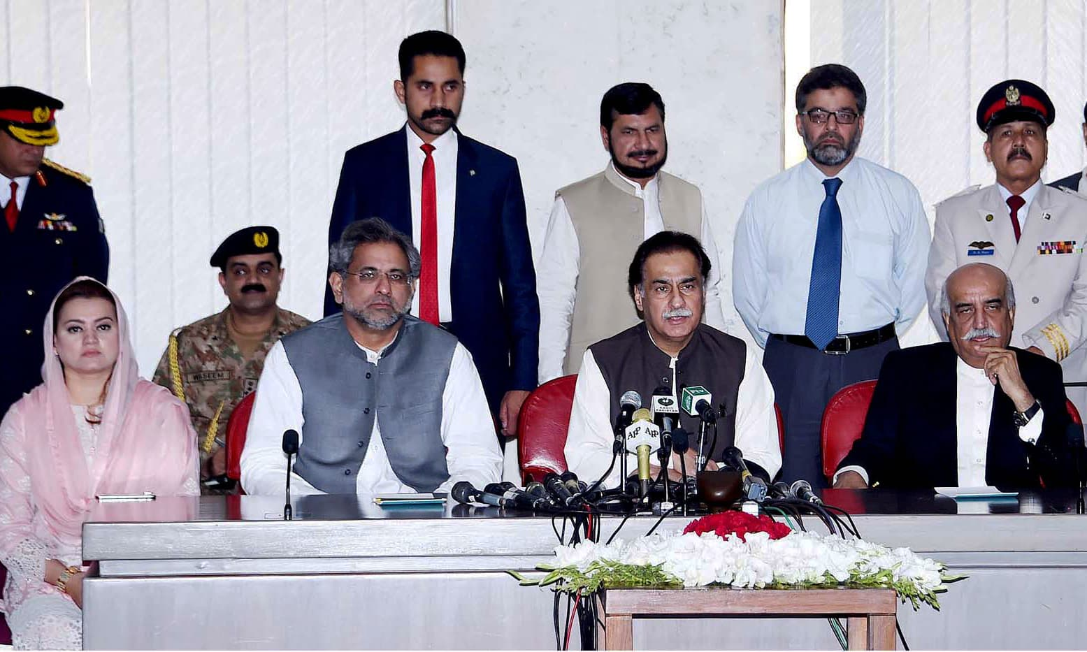 NA Speaker Sardar Ayaz Sadiq along  with PM Shahid Khaqan Abbasi and Syed Khursheed Shah addresses  press conference at Parliament House in Islamabad. —APP