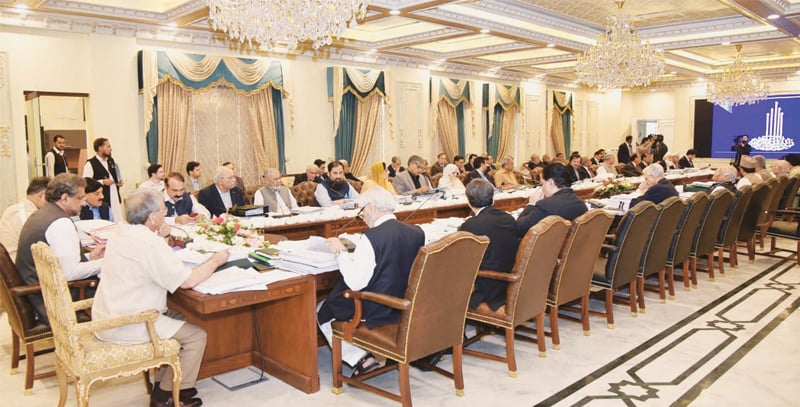 ISLAMABAD: Prime MInister Shahid Khaqan Abbasi chairs a meeting of the federal cabinet at Prime Minister House on Tuesday.—APP