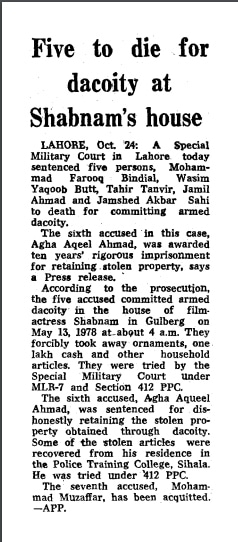 A Dawn news clipping from 1979 about Bandial's conviction. — Dawn archives
