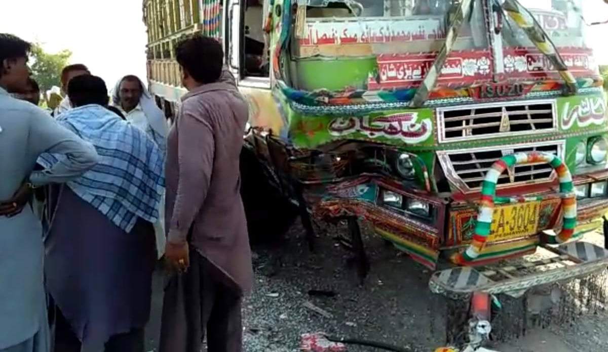 The oncoming dumper that collided head-on with the Mazda, killing five people and injuring four. —DawnNewsTV