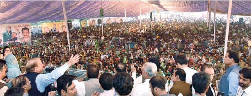FAISALABAD: Nawaz Sharif addresses a public meeting here on Friday. — Dawn