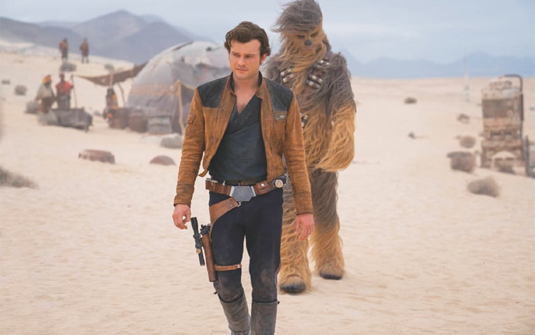 ALDEN Ehrenreich and Joonas Suotamo in a scene from Solo: A Star Wars Story.—AP