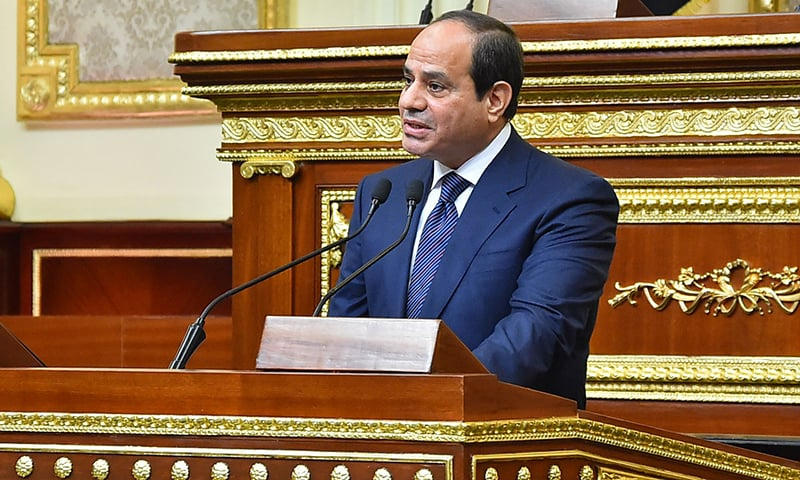 A handout picture released by the Egyptian Presidency on June 2 shows Egyptian President Abdel Fattah al-Sisi giving a speech during his swearing in ceremony for a second four-year term in office, at the parliament meeting hall in the capital Cairo. — AFP