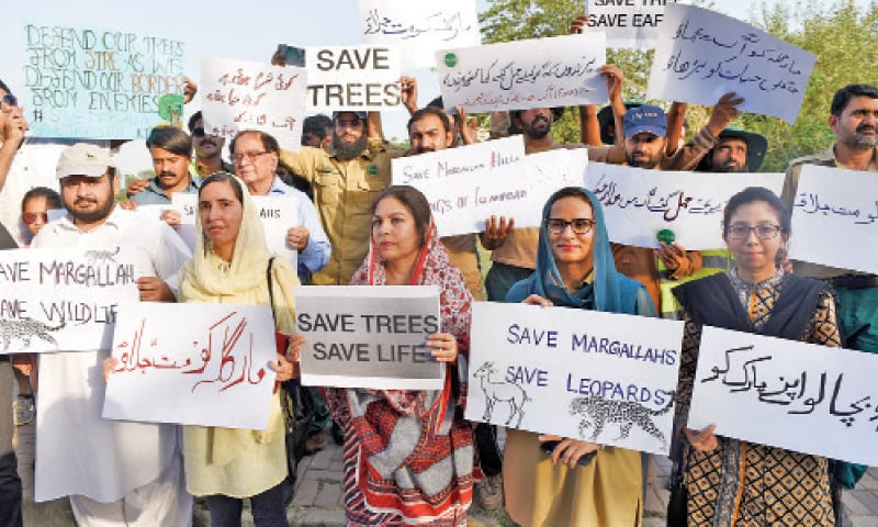 Civil society activists protest outside the National Press Club on Saturday, calling on the city's civic agency to protect the Margalla Hills from fire. — Photo by Tanveer Shahzad
