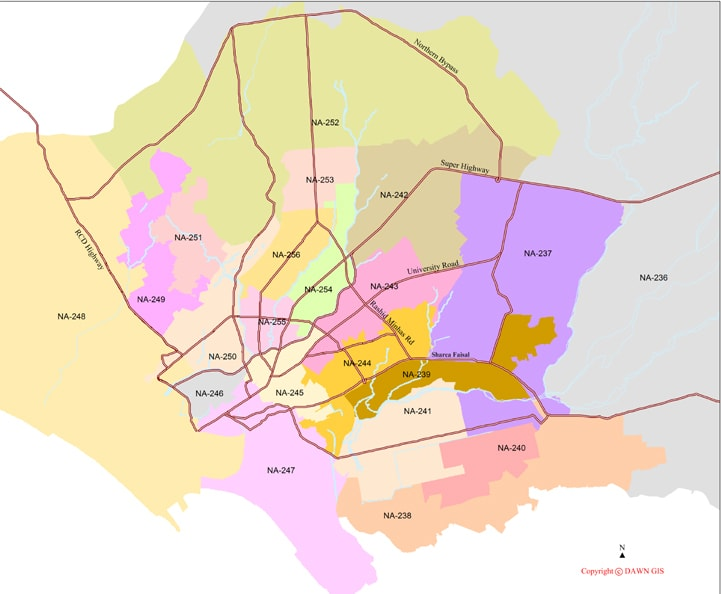 While main roads, rivers and nullahs are meant to divide constituencies, the map above details how this rule has simply been ignored in the delimitation process in Karachi