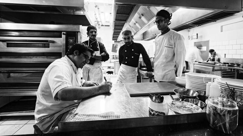 Faheem Jaffer with his team at Côte Rôtie. Photo: Kohi Marri