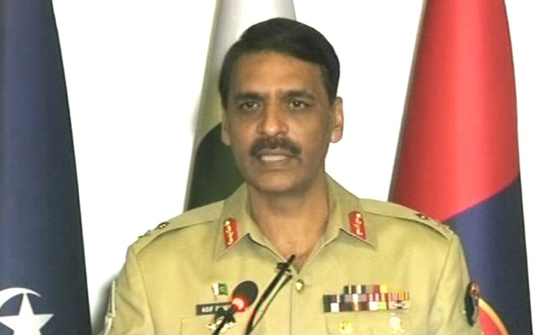 DG ISPR Maj Gen Asif Ghafoor addressing a press conference on Monday. — Screengrab