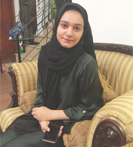 KHADIJA Siddiqui pictured at home, a day after the Lahore High Court acquitted the man who brutally stabbed her. Chief Justice of Pakistan Mian Saqib Nisar has taken notice of the acquittal.—Photo by writer