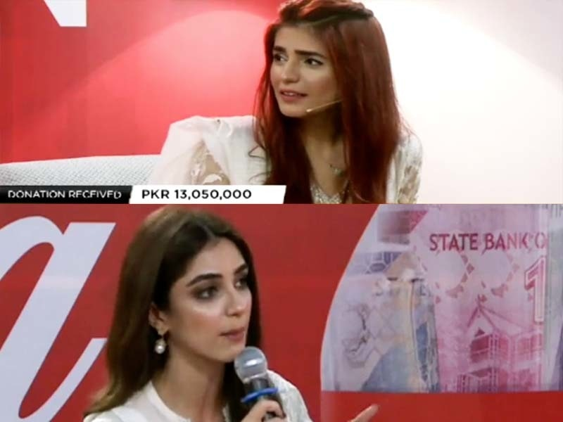 Momina Mustehsan and Maya Ali speaking to the digithon's audience