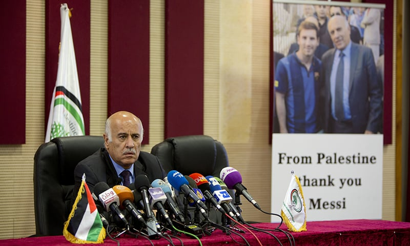 Head of the Palestinian Football Association Jibril Rajoub speaks during a press conference over Argentina's national football team's cancellation of a pre-World Cup friendly with Israel. —AP