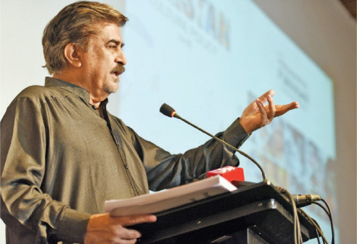 PNCA director general Jamal Shah addresses media persons on Thursday. — Photo by Tanveer Shahzad